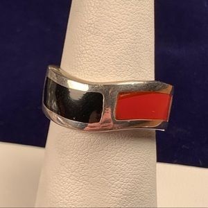 Black Onyx and Carnelian Sterling Silver Ring